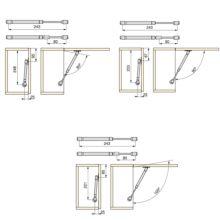 Lote de 20 pistones para muebles con puertas elevables Emuca con fuerza 5 kg y recorrido 80 mm - Ítem1