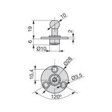 Emuca Enganche lateral con pivote para puertas con pistones, D. 10 mm, Acero, Niquelado, 20 ud. - Ítem1