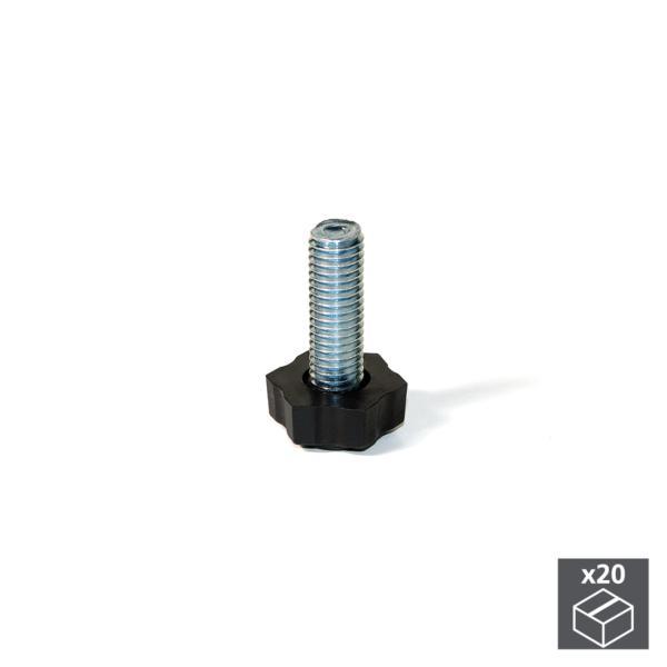 Emuca Pie nivelador para mueble, base hexagonal, M8, altura 38 mm, Acero y plástico, 20 ud.