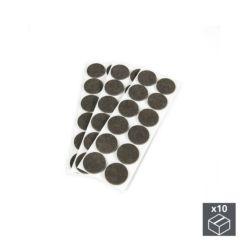 Lote de 10 bolsas de 36 fieltros autoadhesivos Emuca redondos de D. 40 mm