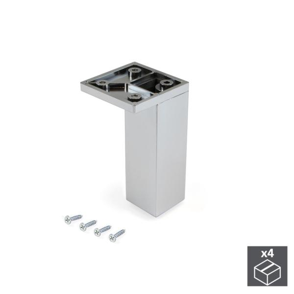 Emuca Pie para mueble, esquina, regulable 100 - 110 mm, Plástico, Cromado, 4 ud.
