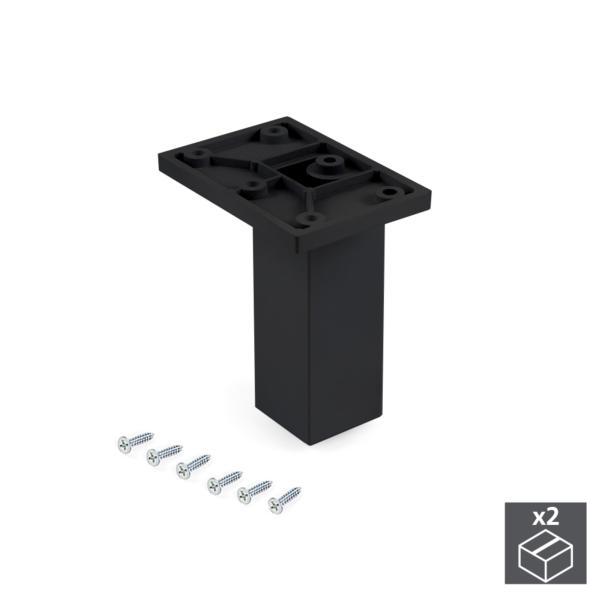 Emuca Pie para mueble, central, regulable 100 - 110 mm, Plástico, Negro, 2 ud.