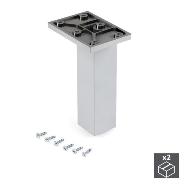 Emuca Pie para mueble, central, regulable 140 - 150 mm, Plástico, Cromado, 2 ud.