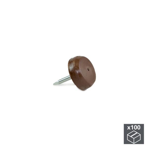Emuca Deslizantes para muebles, con punta, D. 14,5 mm, Acero y plástico, Marrón, 100 ud.