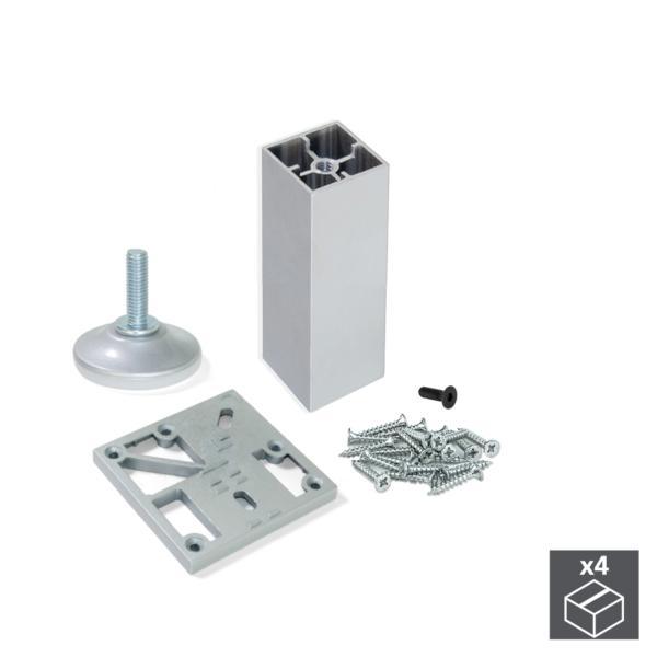 Kit de 4 pies Prisma Emuca para mueble, altura 90 mm en aluminio anodizado mate