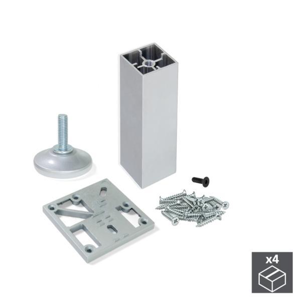 Kit de 4 pies para mueble Prisma Emuca altura 130 mm en aluminio anodizado mate