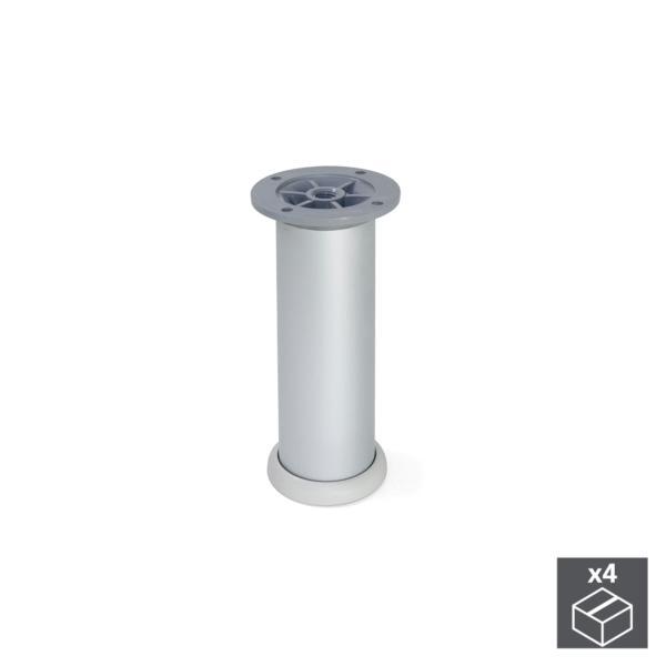 Kit de 4 pies D. 40 mm Emuca regulable 140 - 160 mm en aluminio anodizado satinado