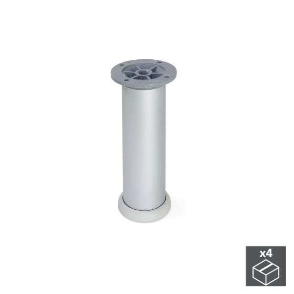 Emuca Pie para mueble, D. 40 mm, regulable 160-180 mm, Aluminio, Anodizado satinado, 4 ud.