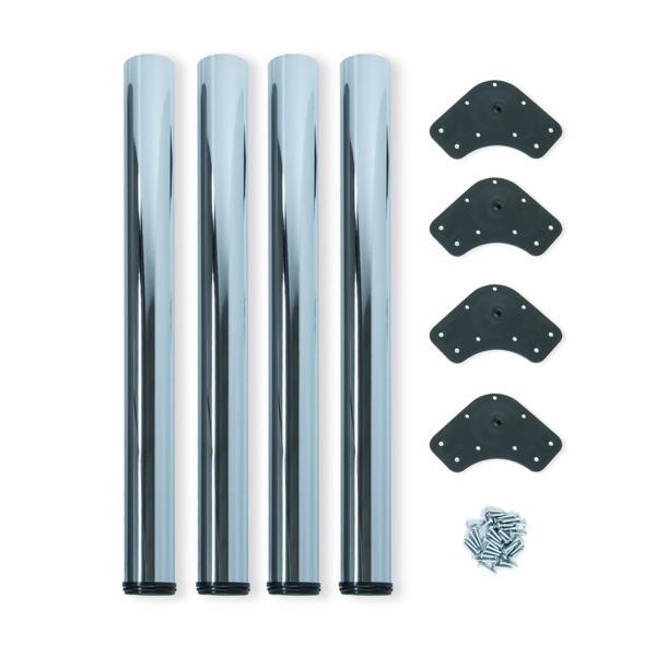 Kit de 4 patas de mesa regulables Emuca D. 60 x 710 mm de acero cromado