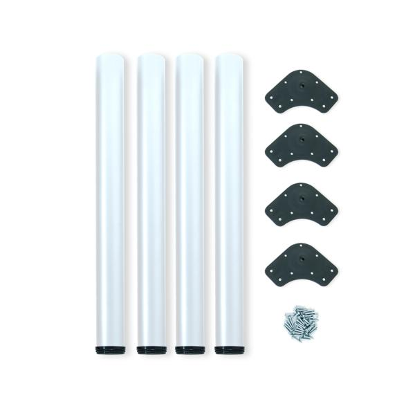 Emuca Patas para mesa, D. 60 mm, regulable 710-730 mm, Acero, Blanco, 4 ud.