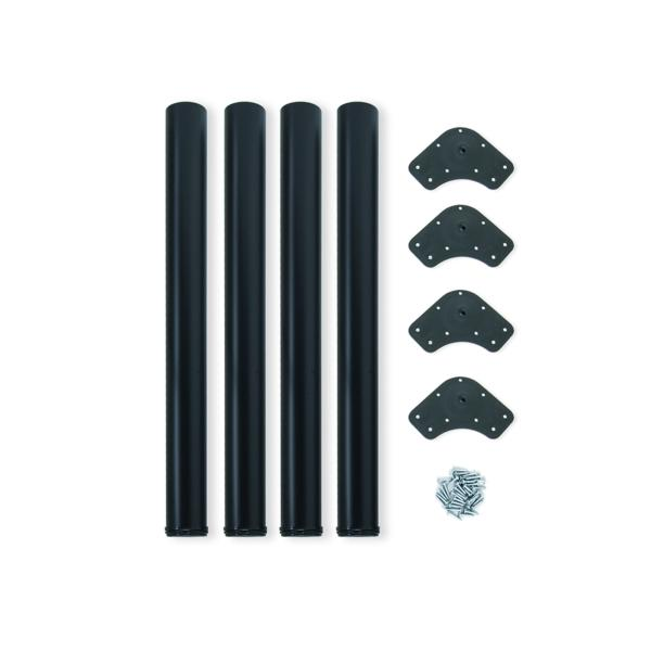 Emuca Patas para mesa, D. 60 mm, regulable 710-730 mm, Acero, Negro, 4 ud.