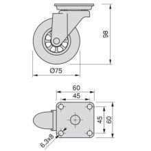 Emuca Ruedas con placa de montaje, D.75 mm, Acero y plástico, Transparente, 4 ud. - Ítem1