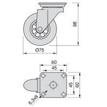 Emuca Ruedas con placa de montaje, D.75 mm, Acero y plástico, Transparente, 4 ud. - Ítem2