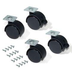Kit de 4 ruedas para cajonera Emuca de D. 50 mm con placa de montaje y rodamiento de bolas
