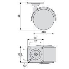 Kit de 4 ruedas para cajonera Emuca de D. 40 mm con placa de montaje y rodamiento de bolas - Ítem1