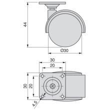 Kit de 4 ruedas para cajonera Emuca de D. 30 mm con placa de montaje y rodamiento de bolas - Ítem1