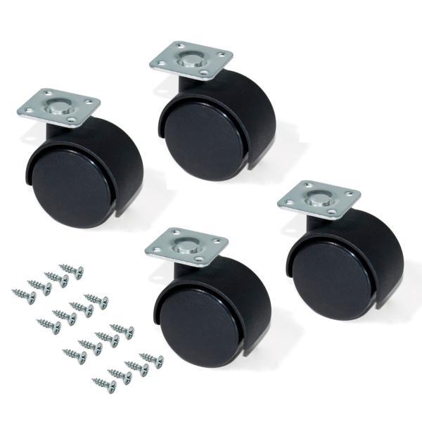 Kit de 4 ruedas para cajonera Emuca de D. 30 mm con placa de montaje y rodamiento de bolas