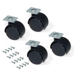 Kit de 4 ruedas para cajonera Emuca de D. 30 mm con placa de montaje y rodamiento de bolas - Ítem