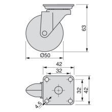 Kit de 4 ruedas Slip Emuca de zamak de D. 50 mm con placa de montaje y rodamiento de bolas - Ítem1