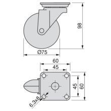 Kit de 4 roulettes Slip Emuca en zamak de D. 75 mm avec plétine de montage et roulements à billes - Item1