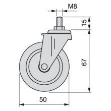 Kit de 4 ruedas Slip 2 Emuca de D. 50 mm con perno M8 x 15 y rodamientos de bolas - Ítem1