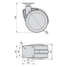 Kit de 4 ruedas Mak Emuca D. 80 mm con placa de montaje - Ítem1