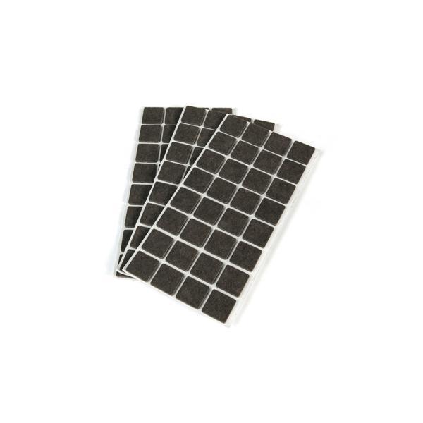 Bolsa de 150 fieltros autoadhesivos Emuca cuadrados 20 x 20 mm