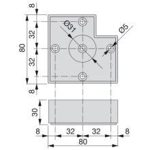 Lote de 20 pies para mueble Alumix7 Emuca altura 30 mm en gris metalizado - Ítem1