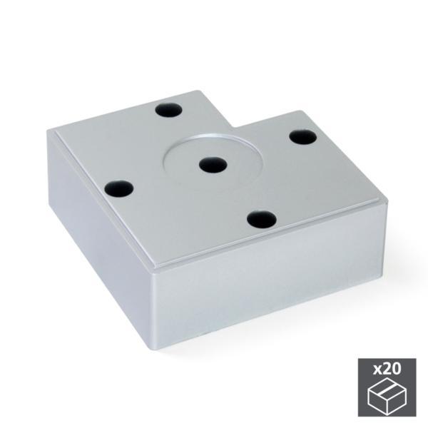 Lote de 20 pies para mueble Alumix7 Emuca altura 30 mm en gris metalizado