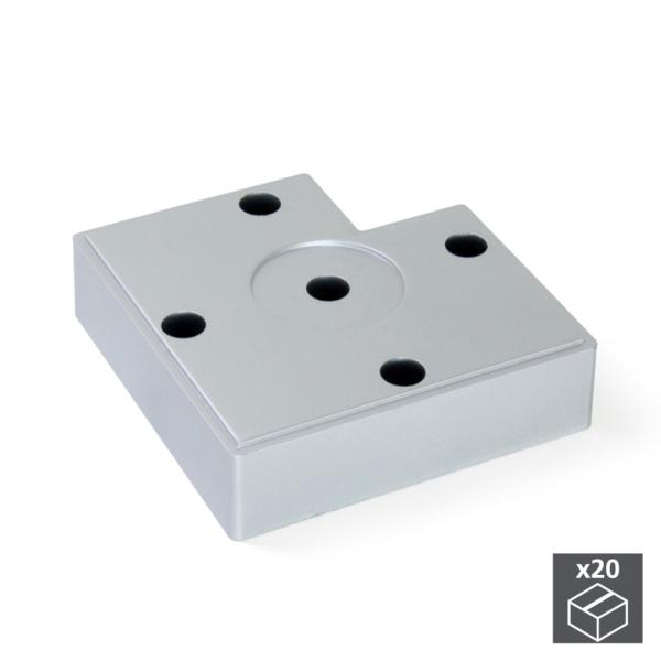 Lote de 20 pies Alumix7 Emuca para mueble, altura 15 mm en gris metalizado