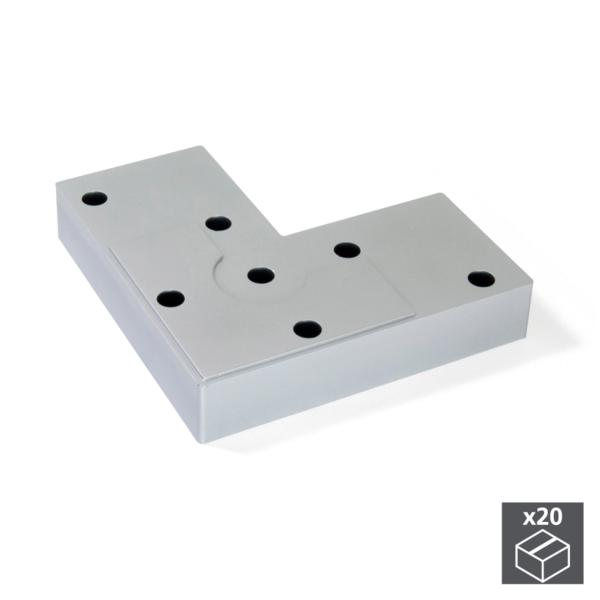 Lote de 20 pies Alumix8 Emuca para mueble, altura 12 mm en gris metalizado