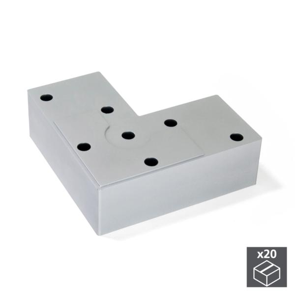 Lote de 20 pies Alumix8 Emuca para mueble, altura 24 mm en gris metalizado