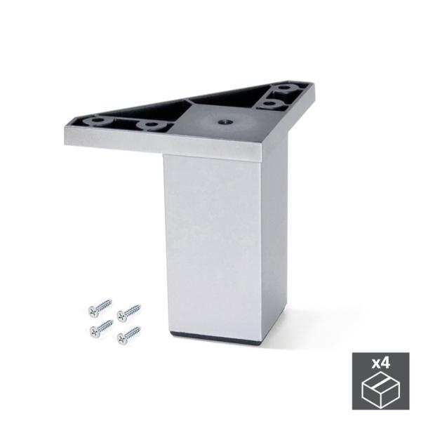 Kit de 4 pies para mueble Alumix1 Emuca altura 80 mm en gris metalizado