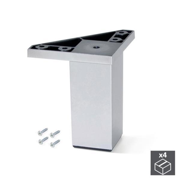 Kit de 4 pies Alumix1 Emuca para mueble, altura 100 mm en gris metalizado