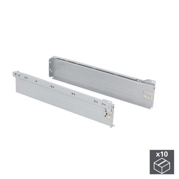Lote de 10 kits de cajón exterior Ultrabox Emuca altura 86 mm y profundidad 450 mm