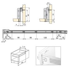 Emuca Kit cajón de cocina Ultrabox, altura 86 mm, prof. 500 mm, Acero, Gris metalizado, 10 ud. - Ítem1