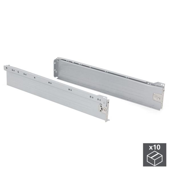 Emuca Kit cajón de cocina Ultrabox, altura 86 mm, prof. 500 mm, Acero, Gris metalizado, 10 ud.