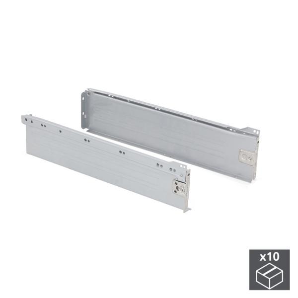 Lote de 10 kits de cajón exterior Ultrabox Emuca altura 118 mm y profundidad 450 mm