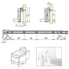Emuca Kit cajón de cocina Ultrabox, altura 118 mm, prof. 500 mm, Acero, Gris metalizado, 10 ud. - Ítem1