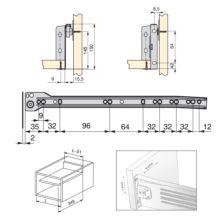 Emuca Kit cajón de cocina Ultrabox, altura 150 mm, prof. 350 mm, Acero, Gris metalizado, 10 ud. - Ítem1