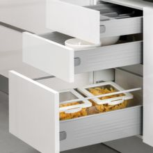 Emuca Kit cajón de cocina Ultrabox, altura 150 mm, prof. 350 mm, Acero, Gris metalizado, 10 ud. - Ítem3