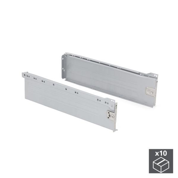 Emuca Kit cajón de cocina Ultrabox, altura 150 mm, prof. 350 mm, Acero, Gris metalizado, 10 ud.
