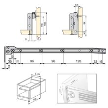 Emuca Kit cajón de cocina Ultrabox, altura 150 mm, prof. 450 mm, Acero, Gris metalizado, 10 ud. - Ítem4
