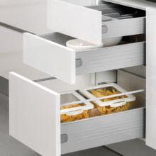 Emuca Kit cajón de cocina Ultrabox, altura 150 mm, prof. 450 mm, Acero, Gris metalizado, 10 ud. - Ítem3