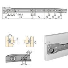 Lote de 5 juegos de guías para cajón T30 Emuca con extracción parcial L 350 mm en color blanco - Ítem1