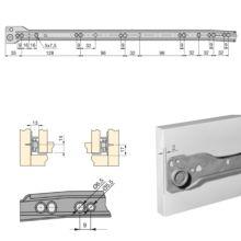 Lote de 5 juegos de guías de rodillos T30 Emuca para cajón con extracción parcial L 500 mm en color gris metalizado - Ítem1