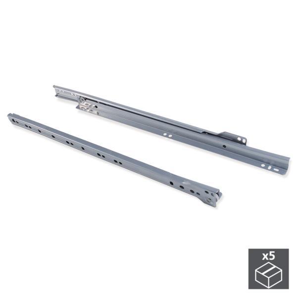 Lote de 5 juegos de guías de rodillos T30 Emuca para cajón con extracción parcial L 500 mm en color gris metalizado