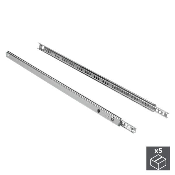 Emuca Juego de guías para cajones, de bolas, 17x 278 mm, extracción parcial, Cincado, 5 ud.