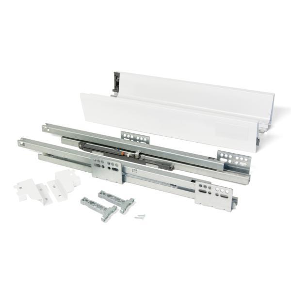 Kit de cajón Vantage-Q Emuca altura 83 mm y profundidad 500 mm en color blanco