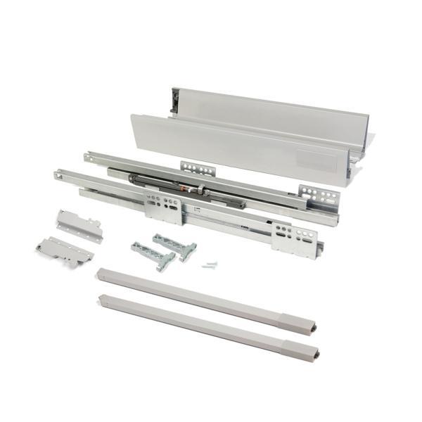 Kit de cajón exterior Vantage-Q Emuca altura 141 mm y profundidad 350 mm con barandillas